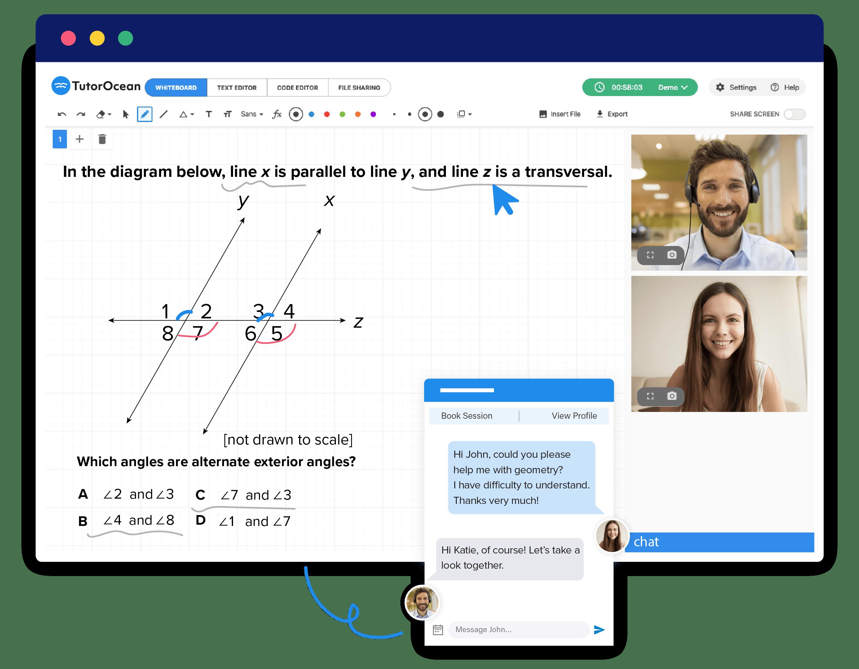 TutorOcean's virtual peer-assisted learning platform